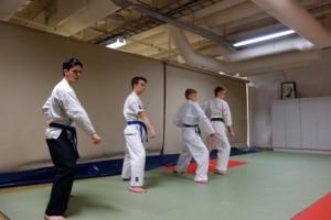 Karateen kuuluvaa kurinalaista liiketekniikkaa esittelevät Albert Karlsson-Parra (vas.), Lauri Kuiko, Juho Aaltonen ja Ilmari Tuominen.