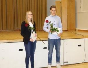 Seinäkiipeilijä Helmi Puustinen ja seiväshyppääjä Eetu Turakainen saivat nuoren urheilijan tunnustuspalkinnot.