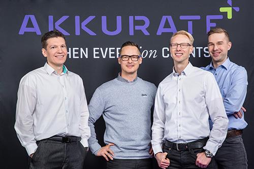 Akkuraten perustajajäsenet Kimmo Valo (vas.), Lauri Pulkkinen, Mika Kanninen ja Jari Koskinen.